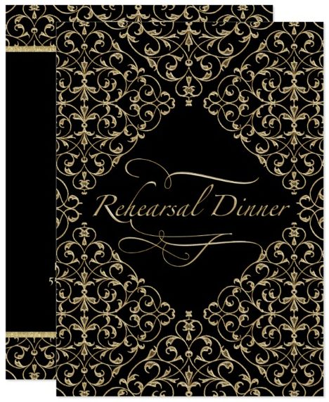 Art Deco Nouveau Lace Damask Golden Calligraphy Card by PatternsModerne