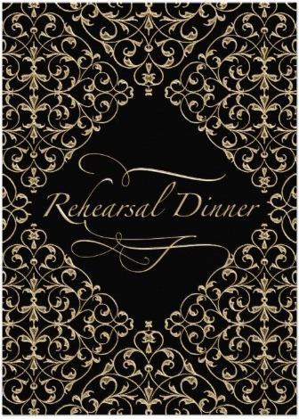 Art Deco Nouveau Lace Damask Golden Calligraphy Personalized Announcement Cards
