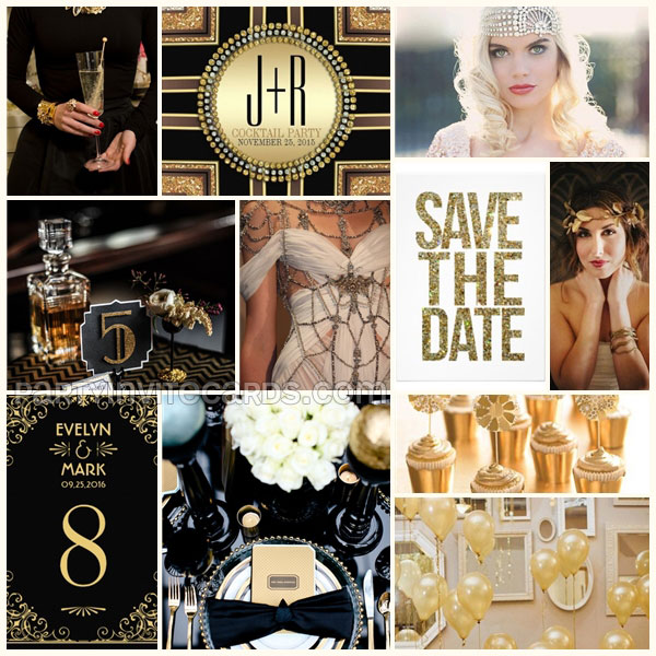 A‌rt Deco Gatsby Black Gold theme moodboard