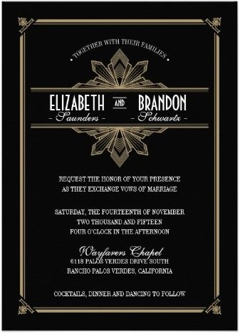 Stylish Glam Gold & Black Art Deco Invitations