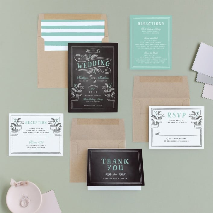 floral-chalkboard-wedding-invitations-set