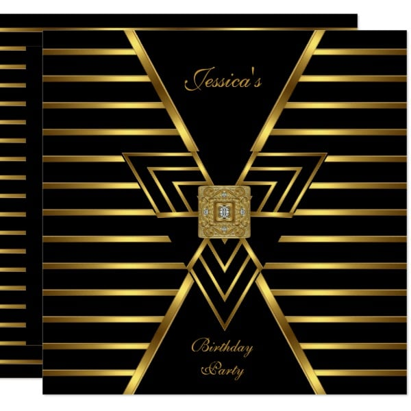 Gold Black Stripe Art Deco Birthday Party Card by Zizzago