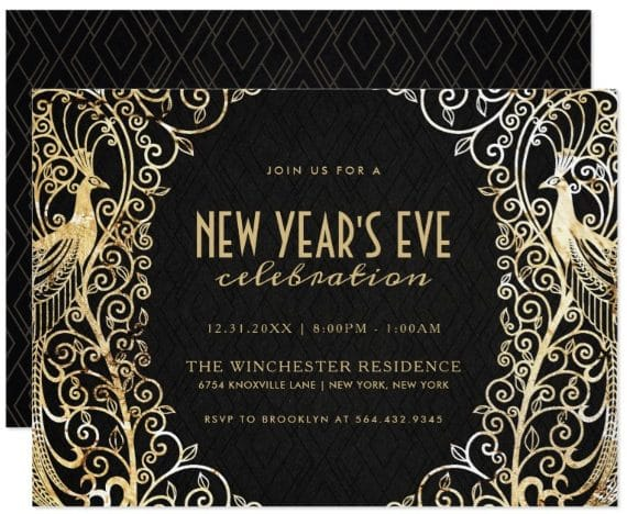 NEW YEAR'S EVE PARTY INVITATION | Golden Peacock by DearBeautifulYou