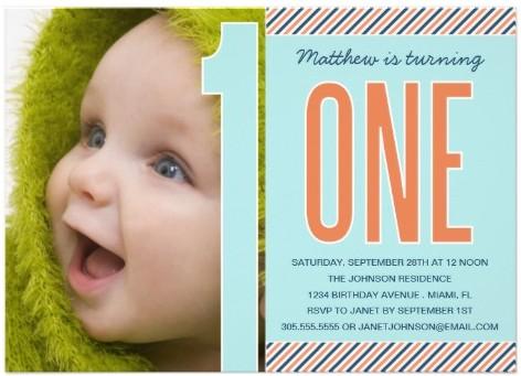 Modern Cute Baby Boy 1st Birthday Invitations Party ideas