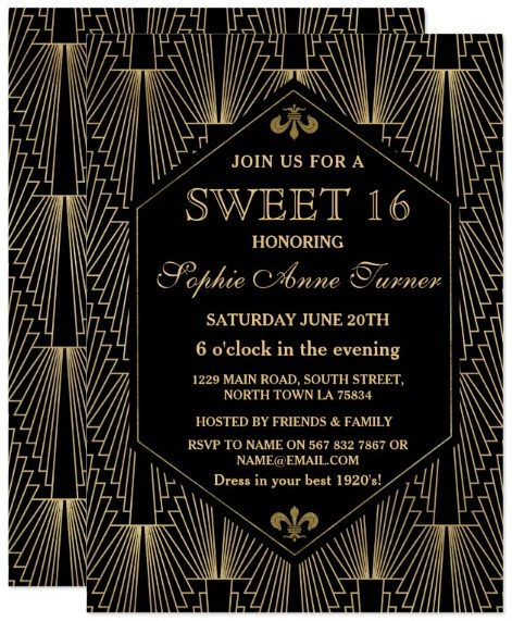 Roaring 20s Great Gatsby Art Deco Sweet 16 Party Card by GeorgetaBlanaruArt
