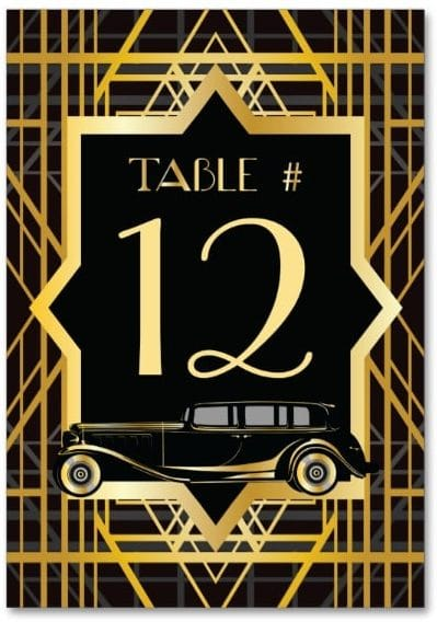 Roaring Twenties Gatsby Style Table Number by Wedding_Trends