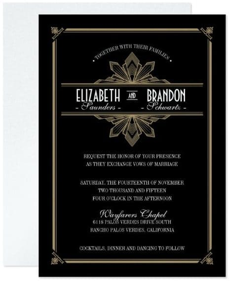 Vintage Deco Black & Gold Wedding Invitation by envelopmentswedding