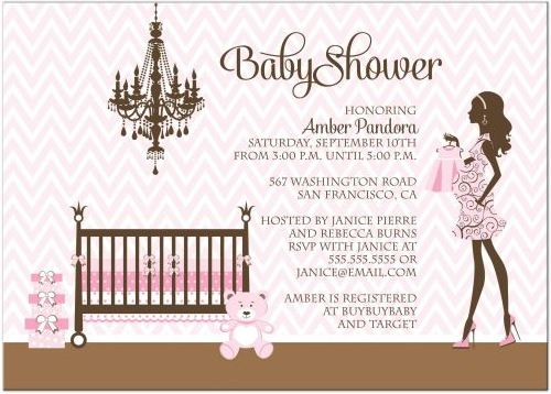 Baby Shower Invitation - Girl Pink and Brown Nursery