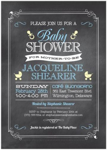 Baby Shower invitation - Whimsical Chalkboard Blue