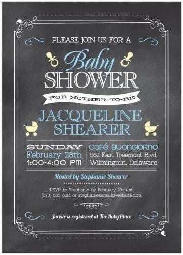 baby shower invitation whimsical chalkboard blue