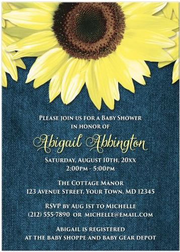 Baby Shower Invitations - Rustic Sunflower Denim