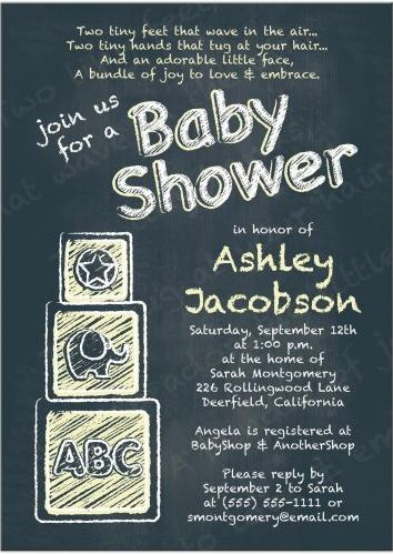 Chalkboard Baby Shower Invitation | ABC Alphabet Blocks Baby Yellow