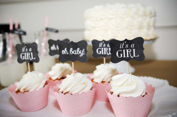 pink cupcakes baby shower chalkboard toppers
