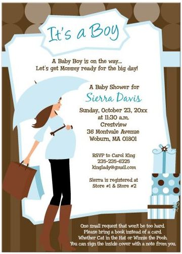 Modern Mom Trendy Boy Baby Shower Invitation