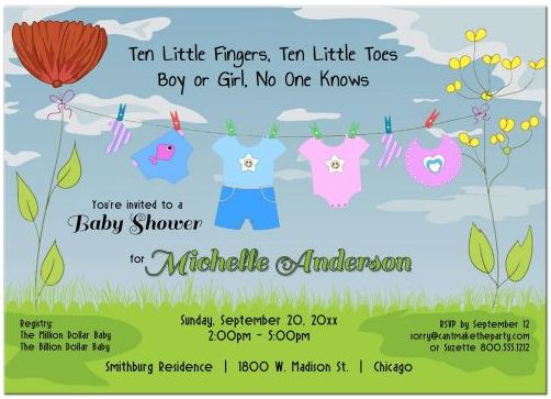New Baby Clothesline Baby Shower Invitation