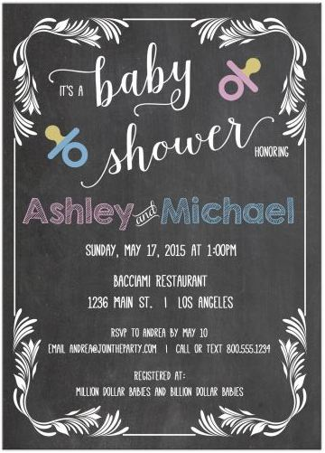 Trendy Chalkboard Scrollwork Frame Typography Baby Shower Invitation