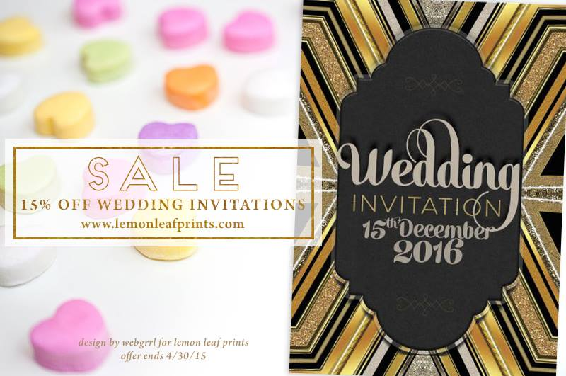 Glitter Art Deco wedding invitation card designs