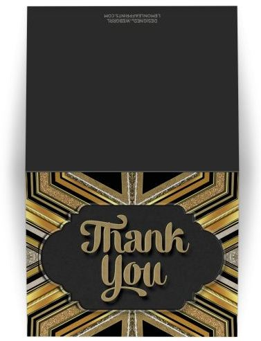 Funky Art Deco Chalkboard Thank You Card