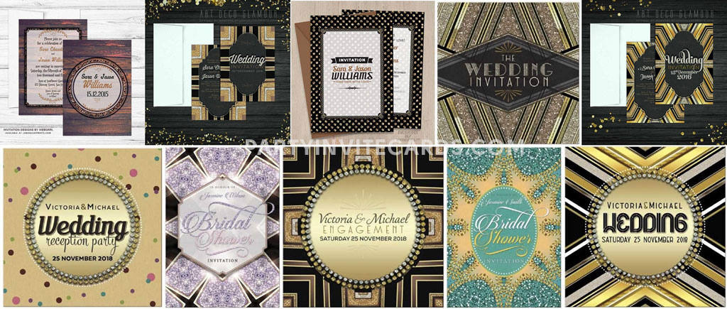 Glitz Glam Invitations Wedding, Bridal Showers, Birthdays and Thank You cards too