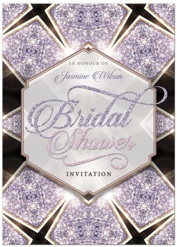Purple Art Deco Glitter Bridal Shower Invitation