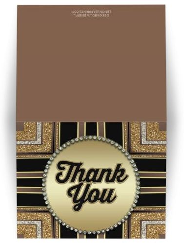 Stylin Art Deco Gold Thank You Card