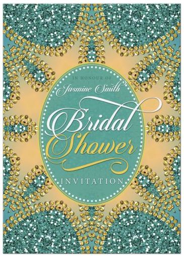 Teal Glitter Bridal Shower Invitation