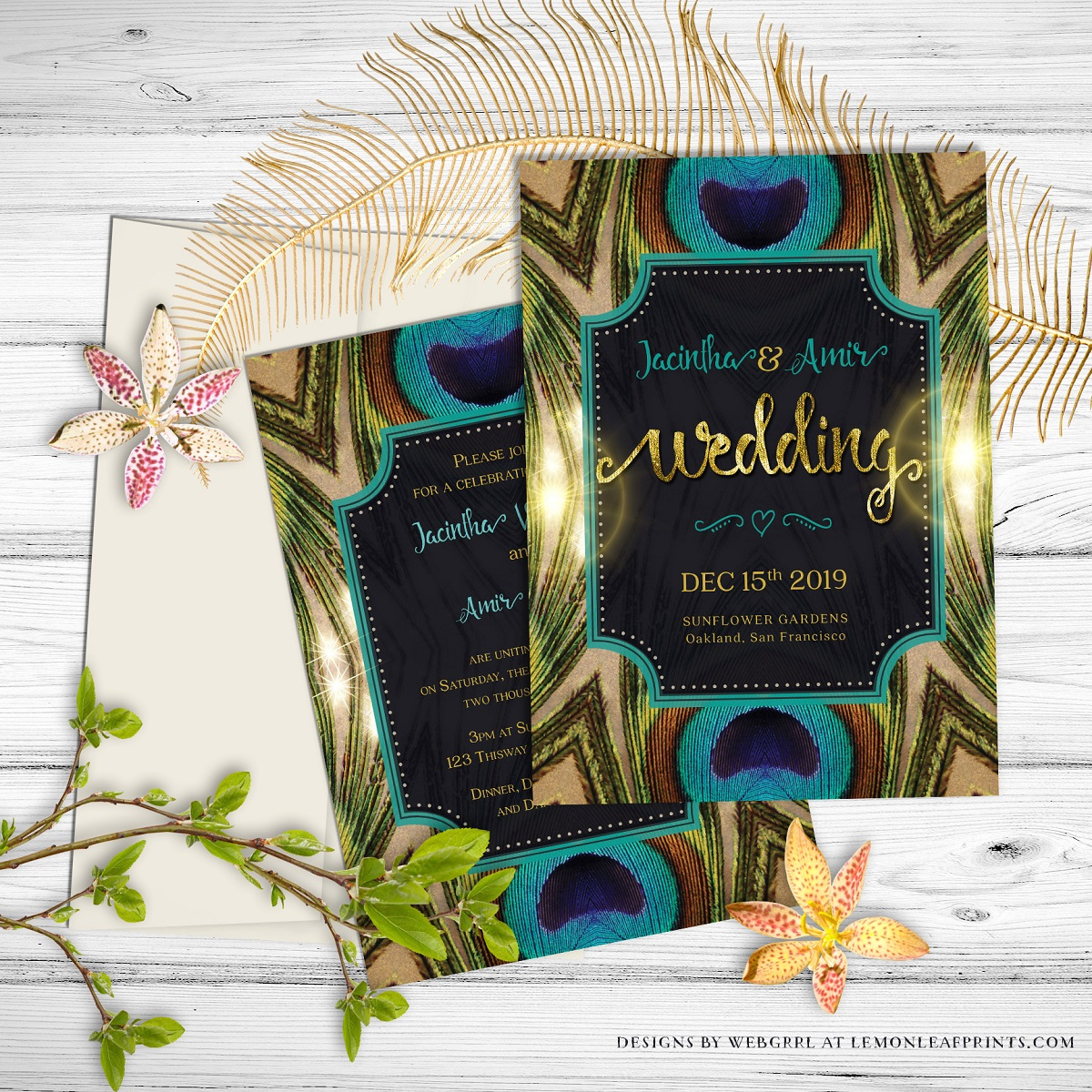 Hindu indian wedding invitations eastern fusions announce your wedding with boho chic charm this peacock feathers wedding invitation is the perfect stopboris Choice Image