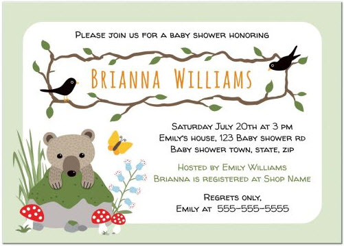 cute-woodland-baby-shower-invitation-with-bear-cub-behind-mossy-rock