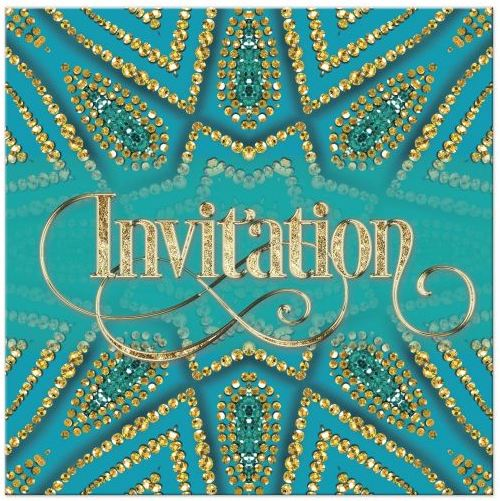 Hindu indian wedding invitations eastern fusion designs for Turquoise gold wedding theme