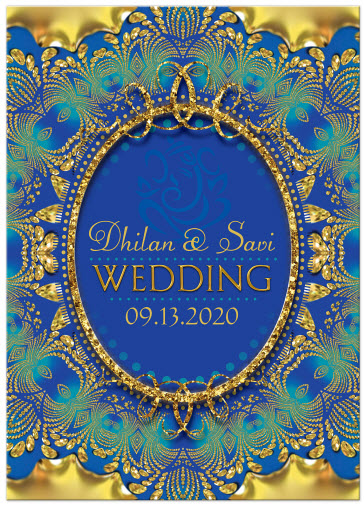 Coral And Gold Wedding Invitations