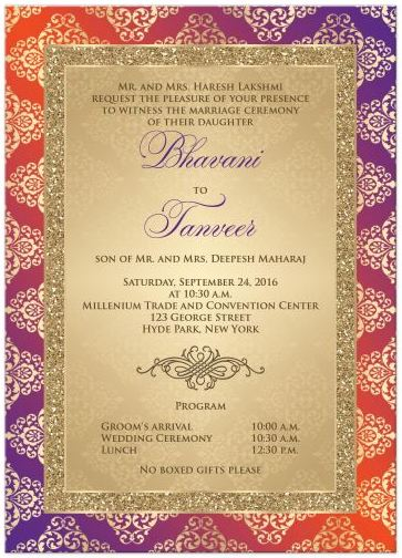 Hindu indian wedding invitations eastern fusion designs wedding invitation orange purple gold damask faux gold stopboris Image collections