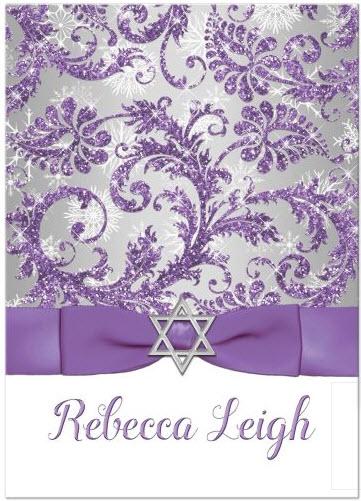 Glitter Purple, Silver, White Snowflakes Bat Mitzvah Invitation |