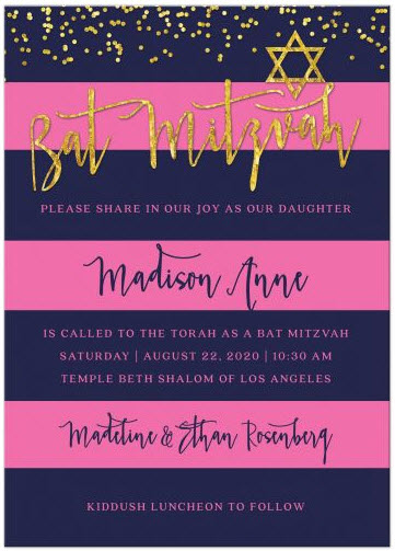 Navy & Pink Stripes with Gold Confetti Bat Mitzvah Invitations