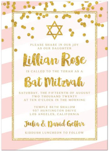 Bat Mitzvah Invitations - Pink Stripes & Gold Confetti