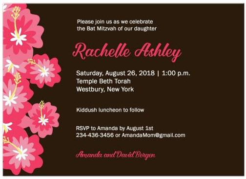 Hibiscus Flower Tropical Bat Mitzvah Invitation