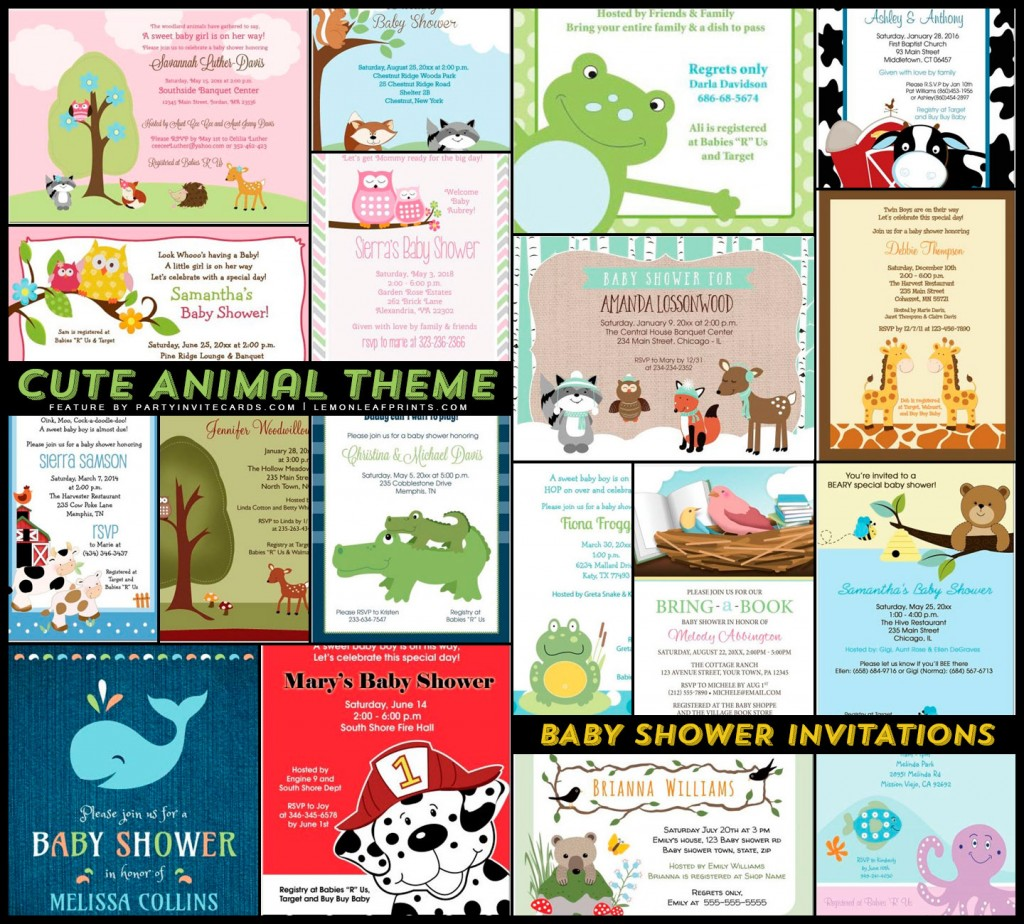 18 Adorable Animals Baby Shower Invitation ...