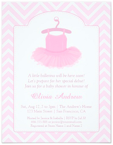 elegant tutu ballerina baby shower invitations