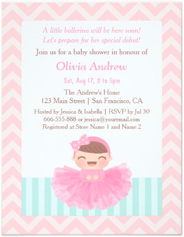 chevron_ballerina_girl_baby_shower_invitations