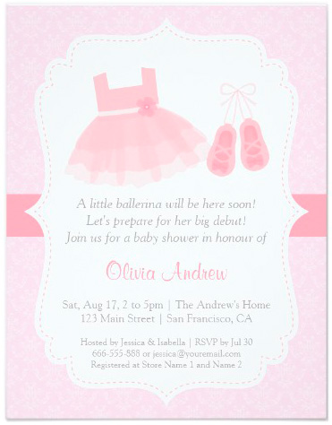 damask_ballerina_girl_baby_shower_invitations