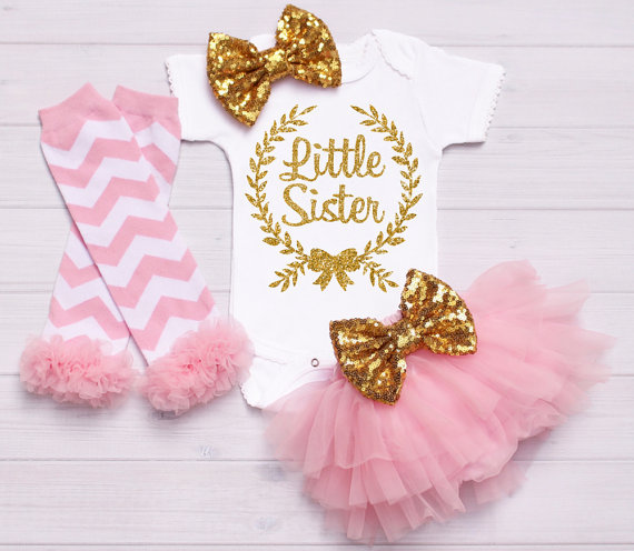 Baby Onesie Outfit Gold baby headband bow, Little Sister Big Sister Outfit, baby tutu, baby shower, baby gift, onesie take home personalized