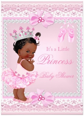 princess_baby_shower_girl_pink_ballerina_ethnic_5x7_paper_invitation_card