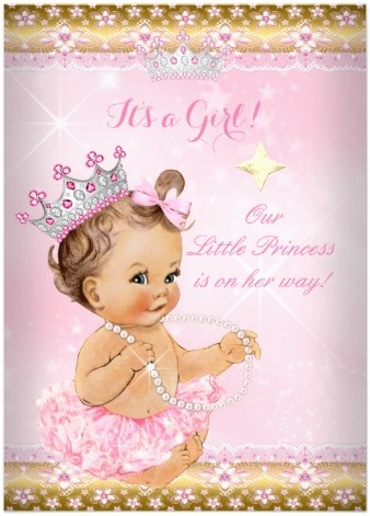 princess_baby_shower_pink_tutu_gold_tiara_brunette_5x7_paper_invitation_card