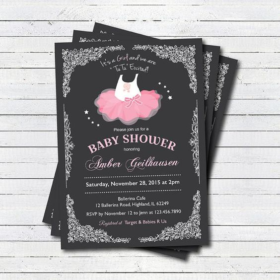 tutu baby shower invitation baby girl shower by crazylime