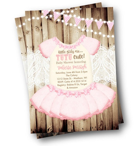tutu baby shower invitation onesie