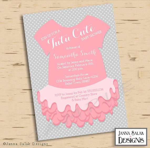 Tutu Cute Baby Shower Invitation Pink  Baby Shower Invite Samples