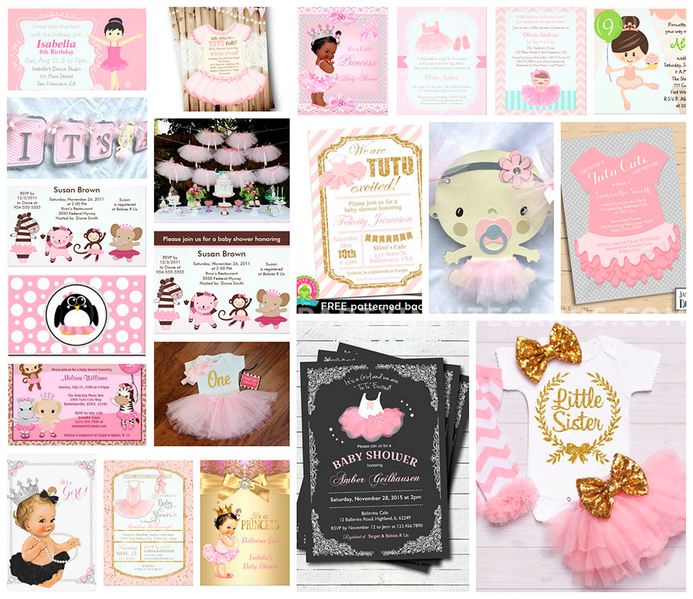 Baby girl ballerina tutu invitations party ideas ballerina tutu cute baby shower invitations birthday party ideas filmwisefo Choice Image