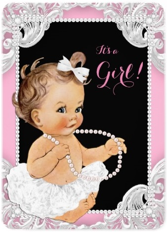 white_tutu_pink_black_pearl_baby_girl_shower_5x7_paper_invitation_card