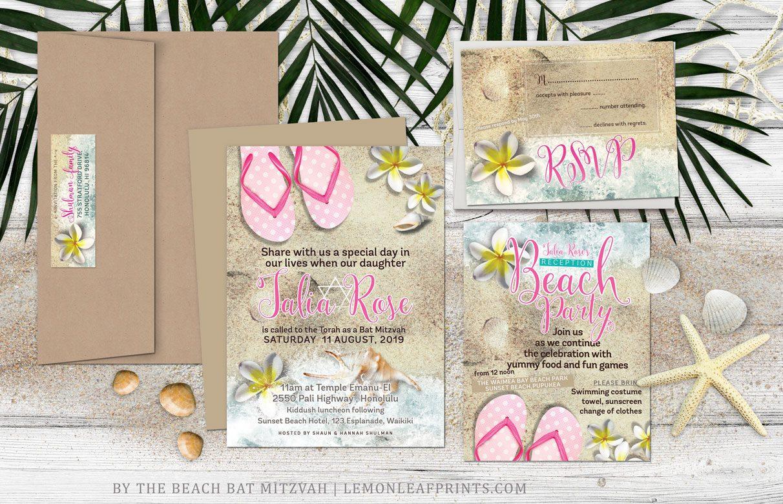 Flip Flops and Frangipani Beach Bat Mitzvah ⋆ partyinvitecards ...