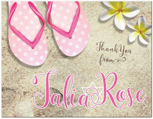 beach-pink-flip-flops-bat-mitzvah-thank-you-postcard
