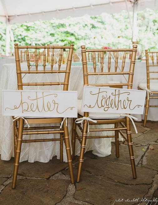 Bride and Groom Better Together wedding Chair Signs by TheBeezeKnees USA | Etsy